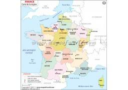 Carte de la France (France Map in French) - Digital File