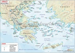 Physical Map of Greece - Digital File