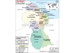 Political Map of Guyana - Digital File
