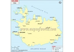 Iceland Map with Cities