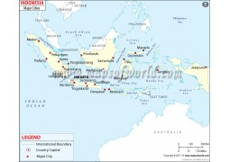 Map of Indonesia with Cities - Digital File