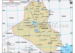 Iraq Latitude and Longitude Map - Digital File