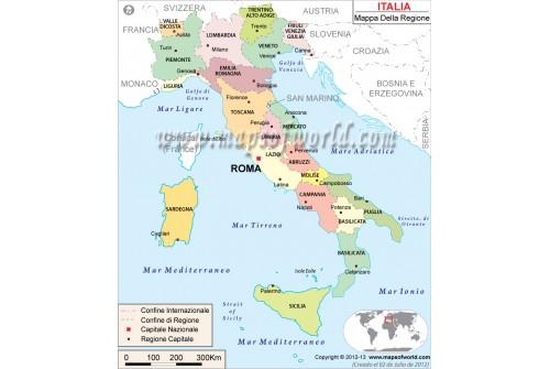 Italia Mappa, Italy Map in Italian