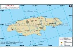 Jamaica Latitude and Longitude Map - Digital File