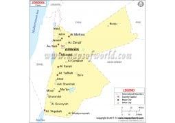 Jordan Map with Cities - Digital File