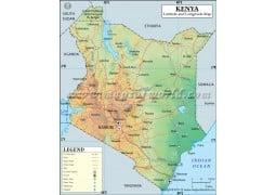 Kenya Latitude and Longitude Map - Digital File