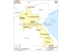 Map of Laos with Cities - Digital File