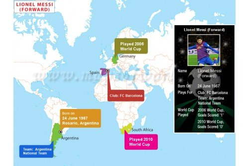 Map of Lionel Messi Biography