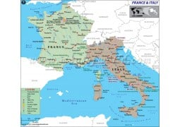 France and Italy Map - Digital File