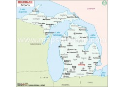Michigan Airports Map - Digital File