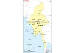 Map of Myanmar with Cities - Digital File