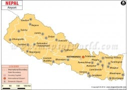 Map of Nepal Airports - Digital File