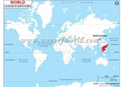 North Korea Location on World Map - Digital File