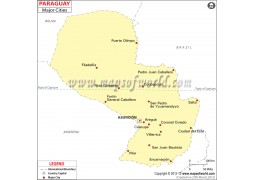 Map of Paraguaywith Cities - Digital File