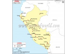 Map of Peru with Cities - Digital File