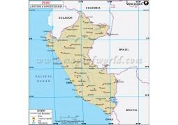 Peru Latitude and Longitude Map - Digital File