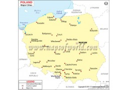 Map of Poland with Major Cities - Digital File