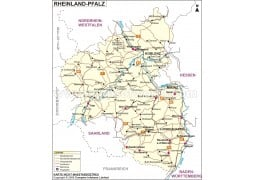 Rheinland-Pfalz Karte, Rhineland - Palatinate Map - Digital File