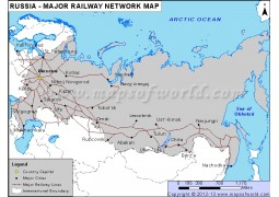Russia Major Railway Network Map - Digital File