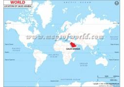 Saudi Arabia Location on World Map - Digital File
