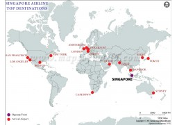 Map of Singapore Airlines Flight Schedule - Digital File