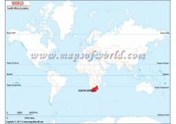 South Africa Location on World Map - Digital File