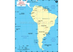 South America Longitude and Latitude Map with Countries - Digital File
