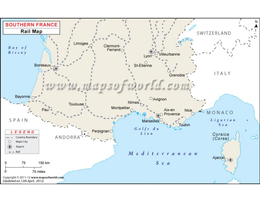 Detailed Map Of Southern France.Buy Southern France Rail Map