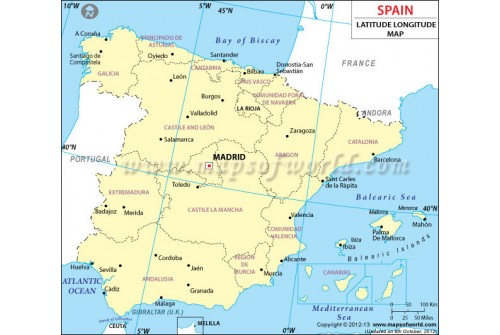 Buy Spain Latitude And Longitude Map - Argentina map with latitude and longitude