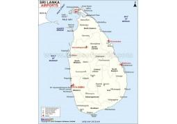 Sri Lanka Airports Map - Digital File
