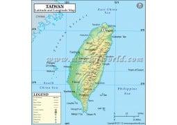 Taiwan Latitude and Longitude Map - Digital File