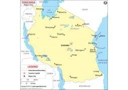 Map of Major Cities of Tanzania - Digital File