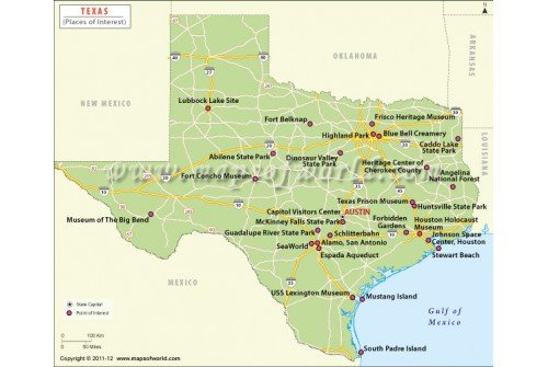 Map of Texas Tourist Attraction