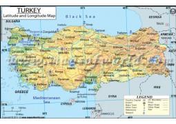 Turkey Latitude and Longitude Map - Digital File