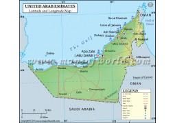 UAE Map With Latitude And Longitude - Digital File