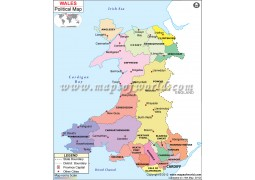 Political Map of Wales - Digital File