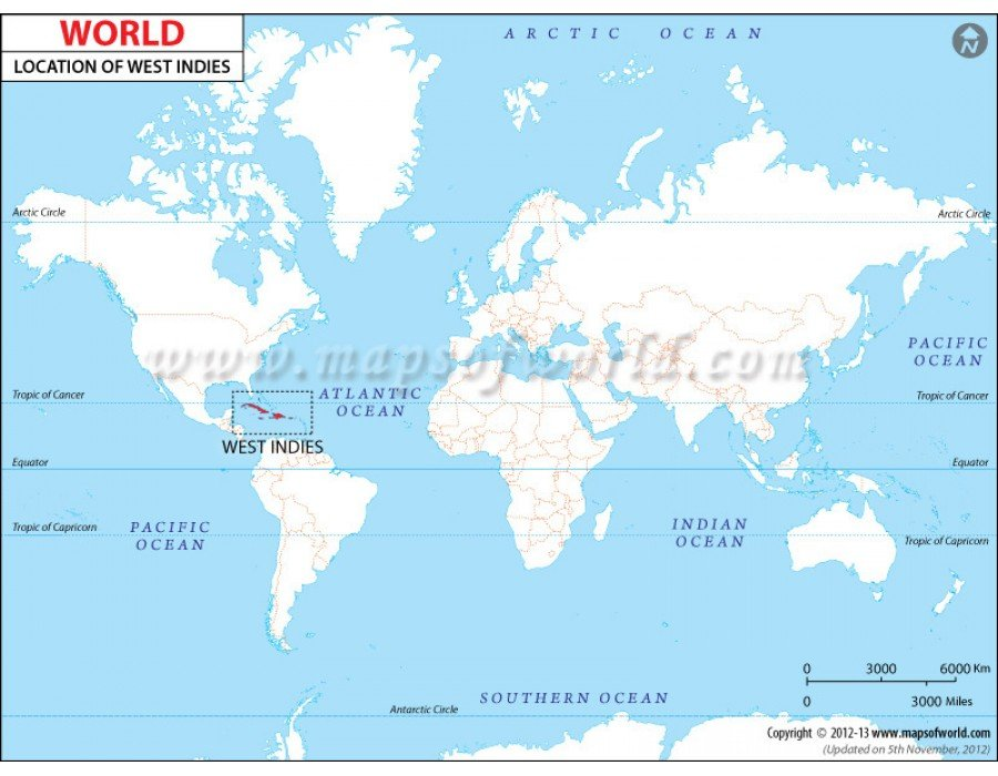 Buy West Indies Location Map