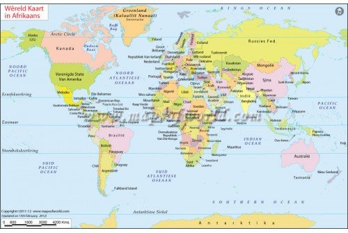 Buy Digital Vector World Map In Afrikaans Language