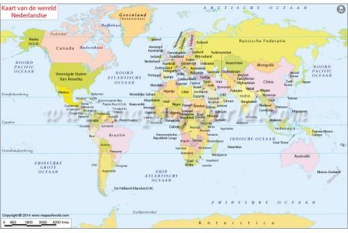 Dutch World Map (Kaart Van de Wereld Nederlandse)