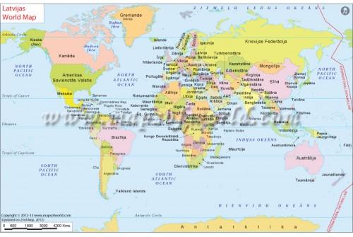 Pasaules Karte (World Map in Latvian)