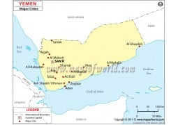 Map of Yemen with Cities