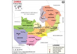 Political Map of Zambia - Digital File