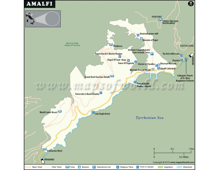 Buy Amalfi Coast City Map