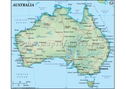 Australia Map in Dark Green Color - Digital File