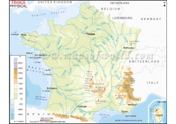 Physical Map of France - Digital File