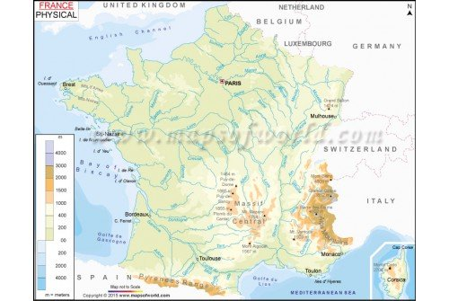Buy physical map of france physical map of france sciox Image collections