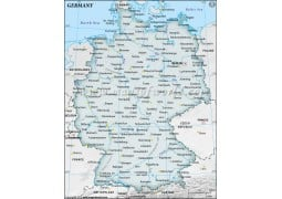 Germany Map with Cities in Gray Background - Digital File