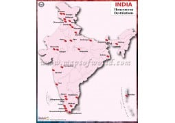 India Map with Honeymoon Destinations - Digital File