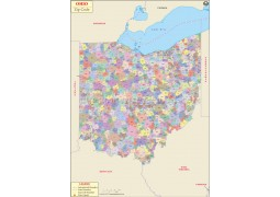 Ohio Zip Code Map - Digital File