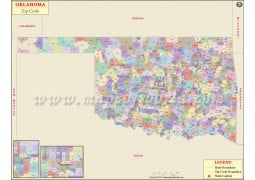 Oklahoma Zip Code Map - Digital File